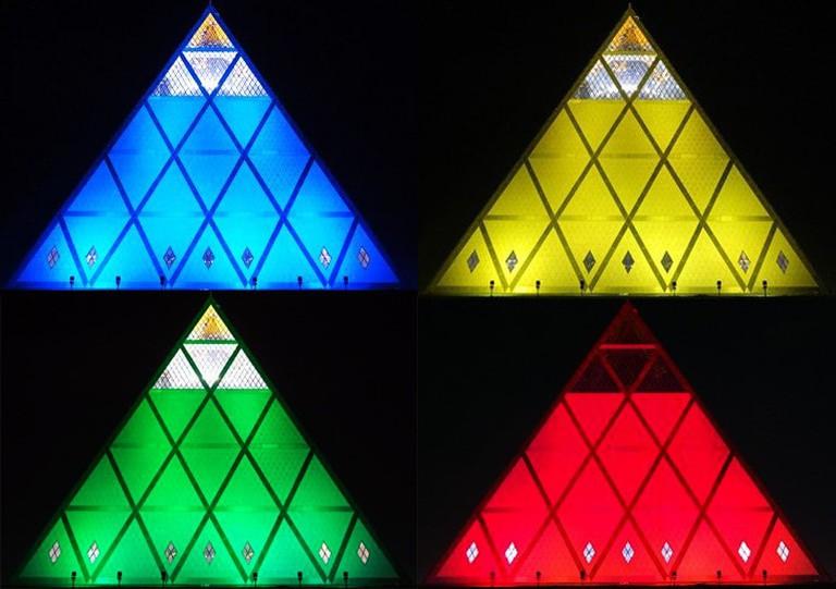 Astana's Pyramid of Peace at night