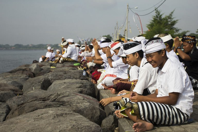 Balinese people in a traditional ceremony