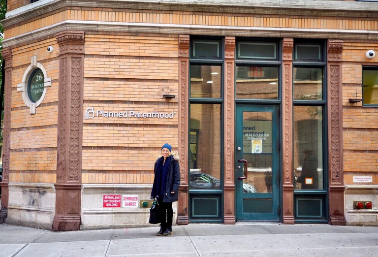 Amy Richards in front of Planned Parenthood in NYC