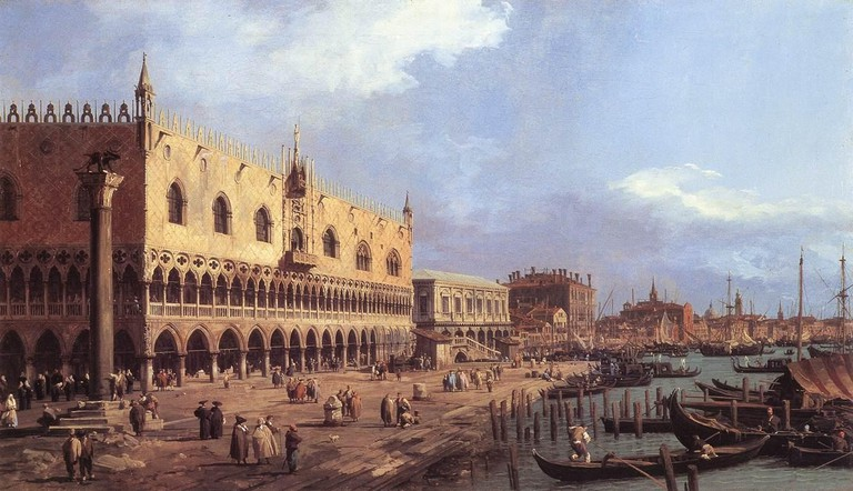 Giovanni Antonio Canal, known as Canaletto, 'The Pier towards Riva degli Schiavoni with the Column of Saint Mark' (before 1742) at Pinacoteca, Castello Sforzesco | Wikicommons
