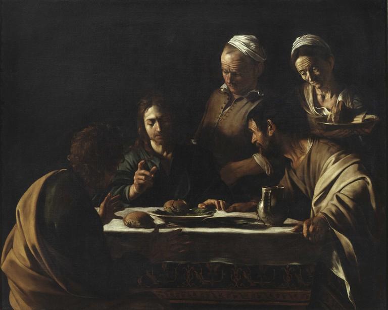 (Michelangelo Merisi) Caravaggio, 'Supper at Emmaus' (1606) at Pinacoteca di Brera