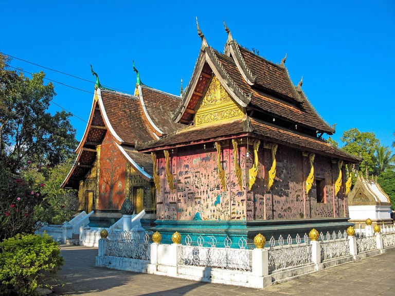 Colorful Temple Buddhist Luang Prabang Asia Laos