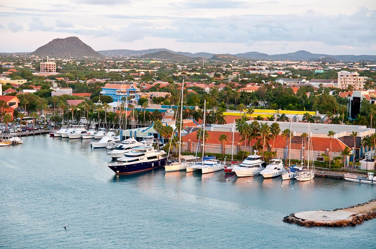 A view of the main harbor on Aruba
