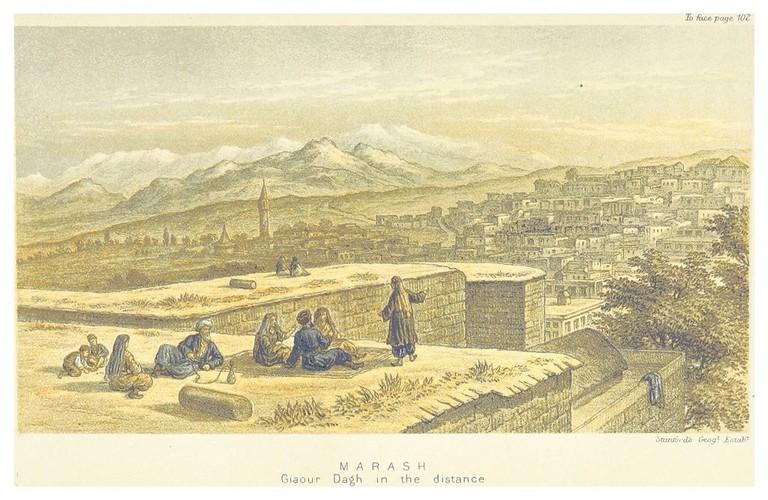 DAVIS(1879)_p145_MARASH,_GIAUR_DAGH_MOUNTAINS_IN_THE_DISTANCE