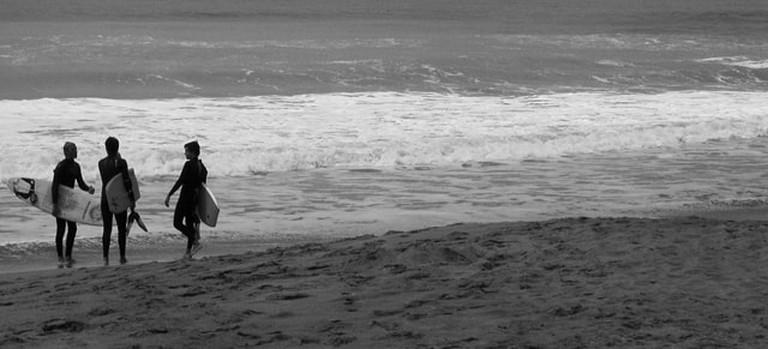Surfers in Mar del Plata