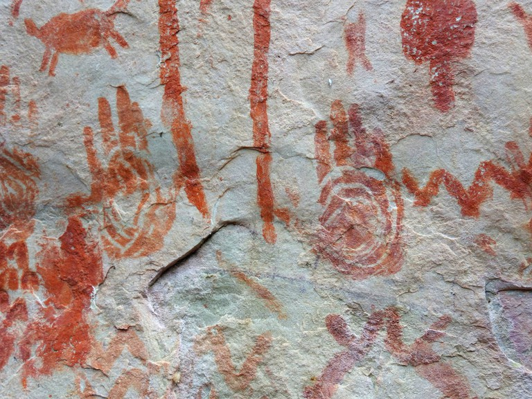 Ancient hand prints at Cerro Azul