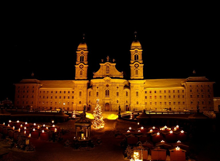 Einsiedeln's monastery and Christmas market