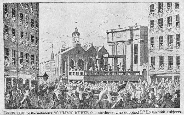 Execution of Burke in the Lawnmarket, Edinburgh, 28 January 1829 | Public Domain via WikiCommons