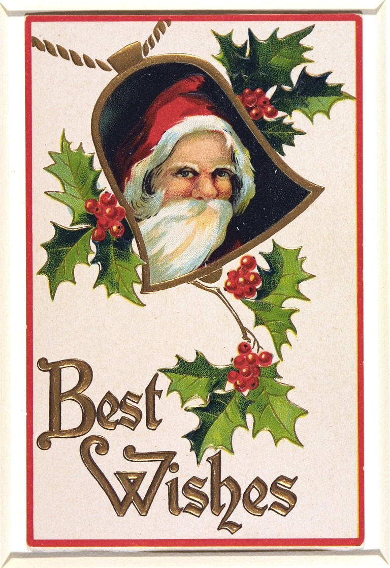 E.382-1971  Greetings card Father Christmas Unknown England late 19th century Chromolithography and embossing with gold block printing, on paper