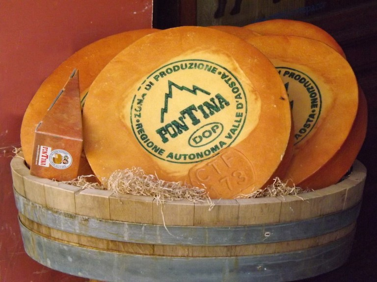 Wheels of fontina DOP cheese from the Aosta Valley