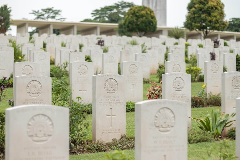 Rows of Commonwealth War Graves in Kranji war cemetery, Singapore