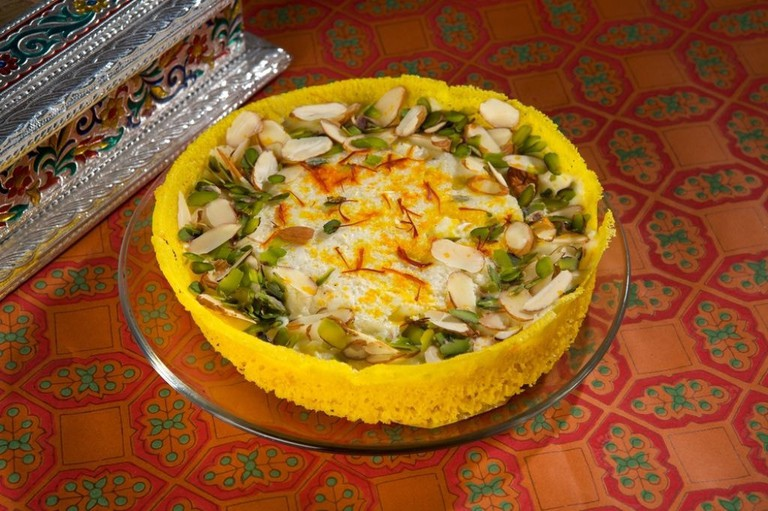 No celebration in Rajasthan is complete without the classic Ghevar, topped with rabri and nuts