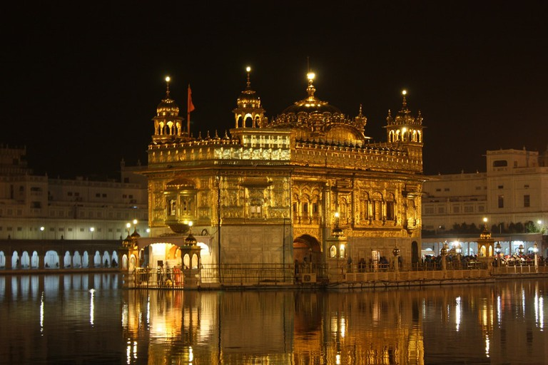 The Golden Temple at Amritsar as seen at night