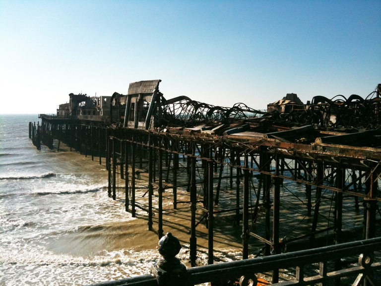 The pier after it was damaged by the fire