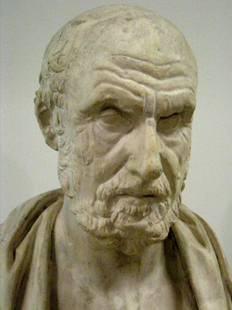 Bust of Hippocrates, father of medicine