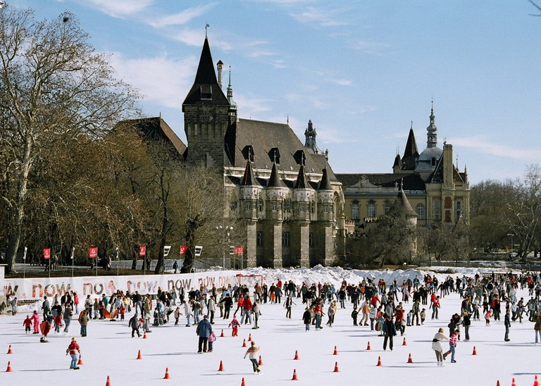 Budapest's City Park becomes a huge ice rink in winter