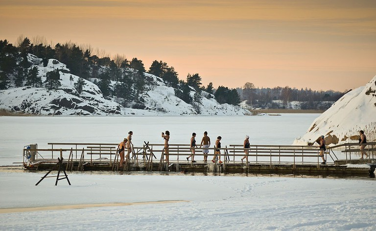 Ice swimming hole in Turku
