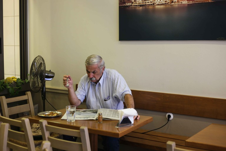 At Chania, the morning newspaper's best company is Bougatsa Iordanis