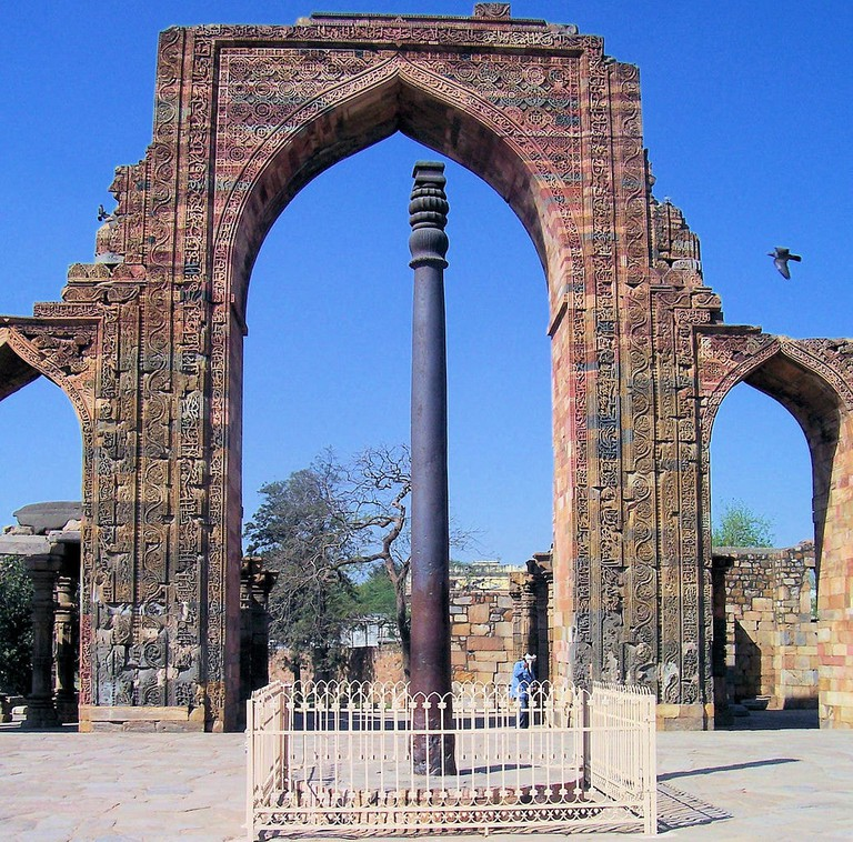 The Kirti Stambh or Iron Pillar of Delhi is a 7-meter-tall pillar weighing 6 tonnes that is completely made of metal