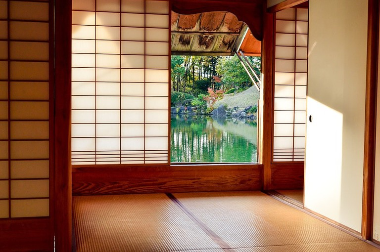 A Japanese-style sitting room with tatami flooring