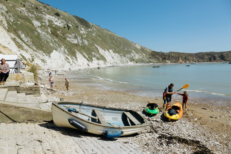 Kayakers in Lulworth Cove