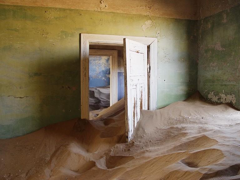 Inside a deserted house in Kolmanskop