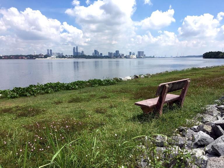 Kranji Reservoir Park overlooking Straits of Johor
