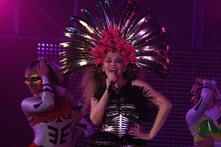 Kylie Minogue performing at the Mardi Gras