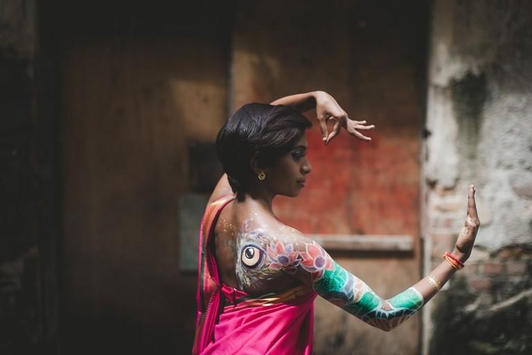 Dancer Harshini was painted as the Hindu Goddess, Lakshmi, one of the Tridevi Goddesses