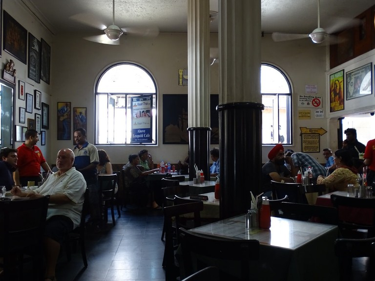 The interior of Leopold Cafe, a popular watering hole in Mumbai, India