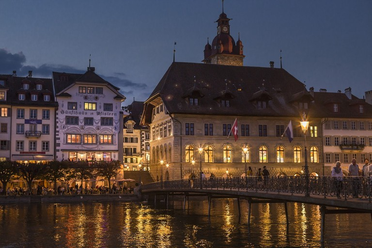 Lucerne's town hall at night