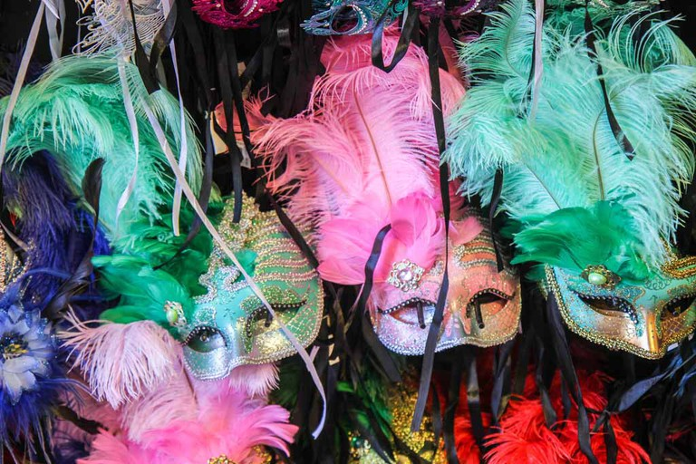 Mardi Gras masks in New Orleans, Louisiana, United States.
