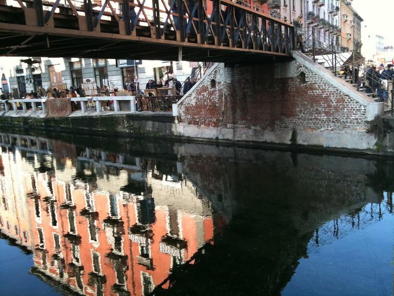 Canalside market at Navigli, Milan