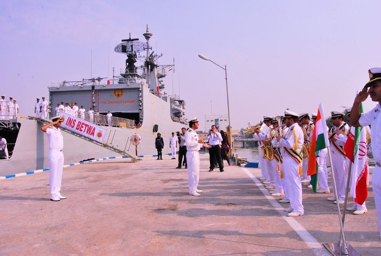A Navy band playing the Indian national anthem during a ceremonial parade
