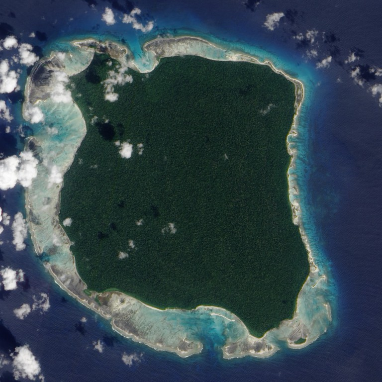 Satellite view of the North Sentinel Island, home of the Sentinelese tribe