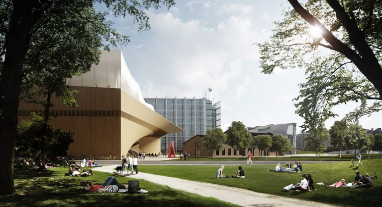 Outdoor view of Helsinki Public Library | Courtesy of ALA Architects