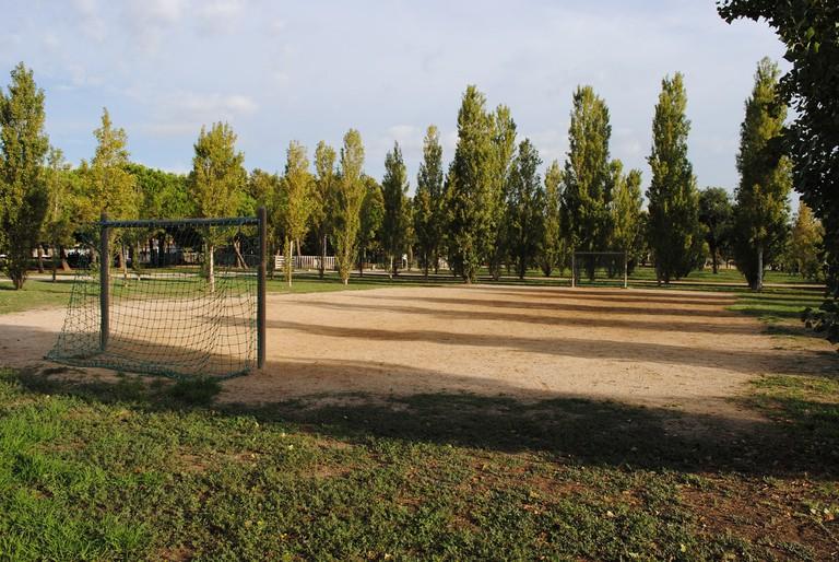 An empty football field