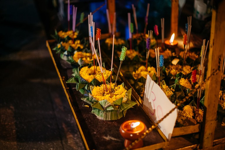 Ready-made krathong for sale on the roadside