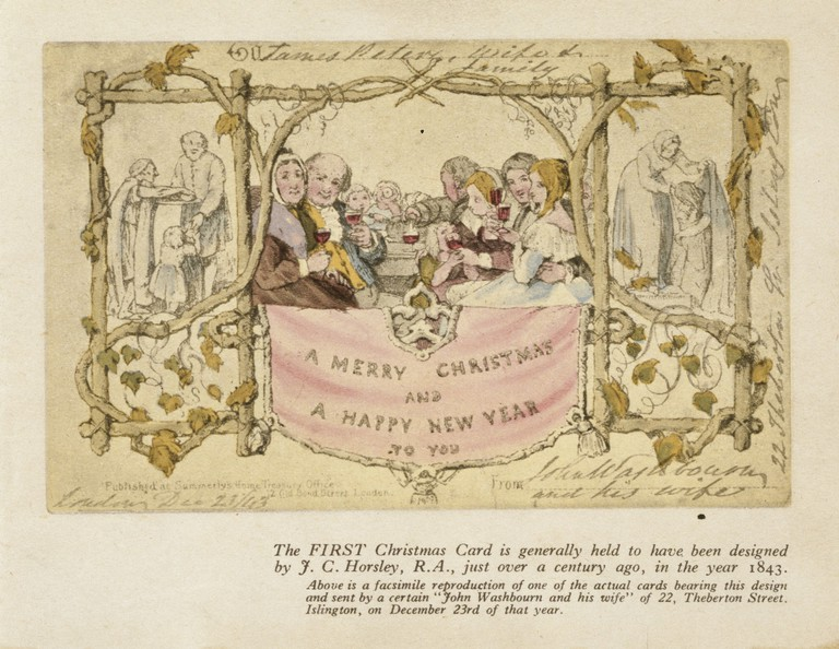 E.1993-1953  Facsimile of The Christmas Card designed for Sir Henry Cole (1808 - 82); with manuscript greeting from James Peters & Wife at the top; designed by John Calcott Horsley (1817 - 1903); published by Summerly`s Home Treasury Office, 12 Old Bond Street; English (London); dated Xmasse 1843. Reproduced by Raphael Tuck & Sons; English (London); c.1945.