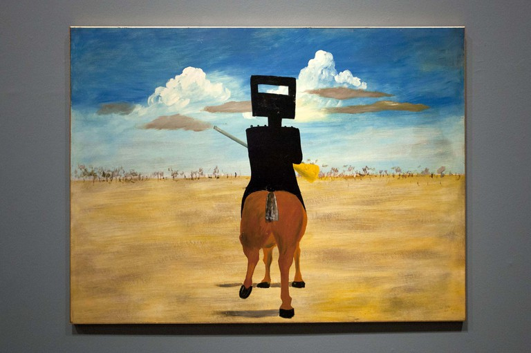 'Ned Kelly' (1946), part of the iconic series of paintings by Sidney Nolan portraying the Australian outlaw. 'Australia' art exhibition, Royal Academy of Arts, London, Britain – 17 Sep 2013. The exhibition, said to be the most significant survey of Australian art ever mounted in the UK, spanned more than 200 years, from 1800 to the present, and ran from the 21st of September to the 8th of December 2013. Photo by London News Pictures/REX/Shutterstock (3029264b)