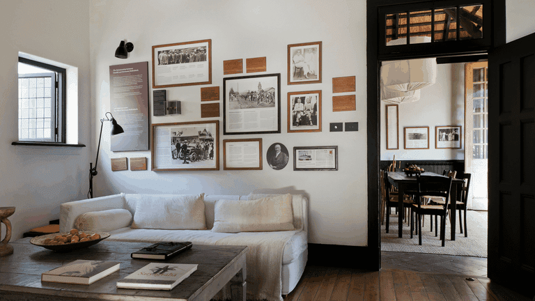 The lounge dons historic wall decor