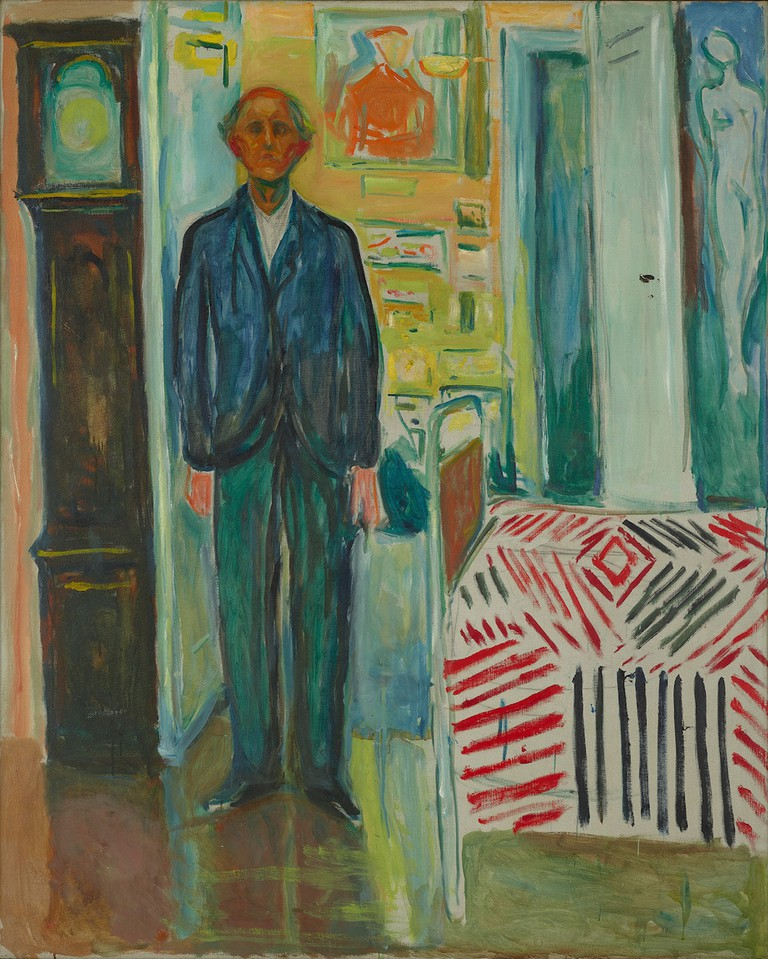 Edvard Munch's 'Self Portrait between the Clock and the Bed', 1940–1943 | © 2017 Artists Rights Society (ARS), New York / Munch Museum