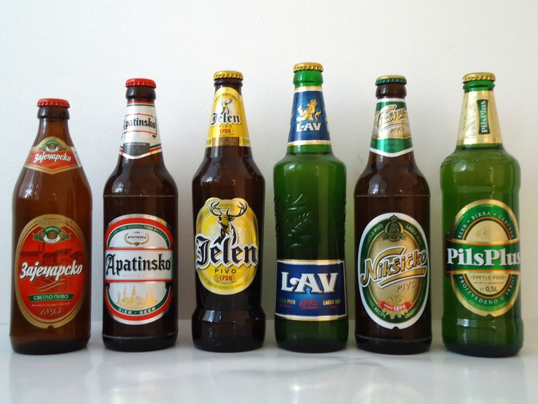 Some of the lager options in Serbia (with a rogue Montenegro pivo)