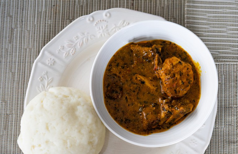 Ogbono Soup Served with Pounded Yam