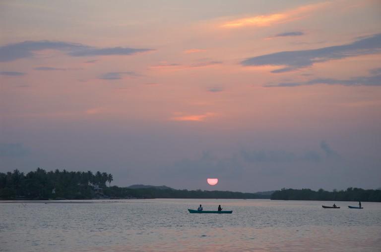 Sunset on the Lagunas de Chacahua, Mexico