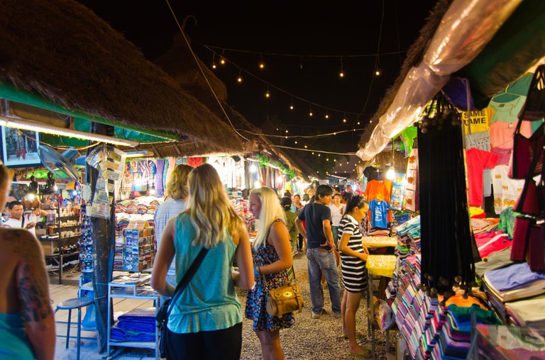 Shoppers at the night market in Siem Reap