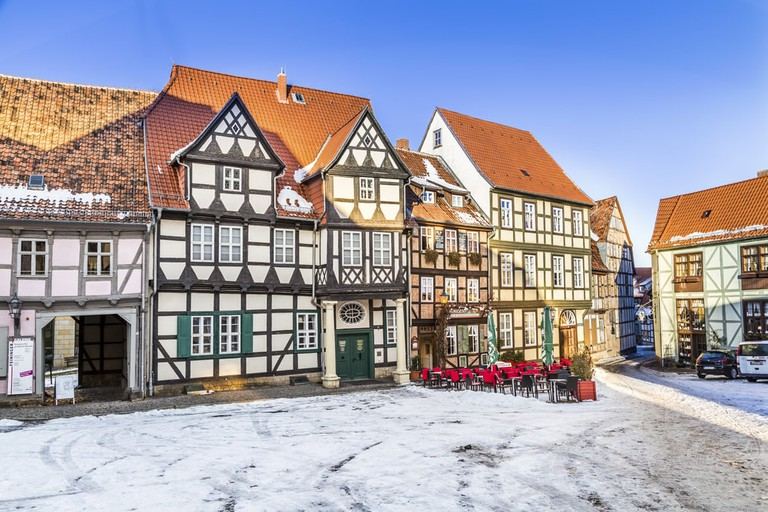 Traditional Quedlinburg houses in winter