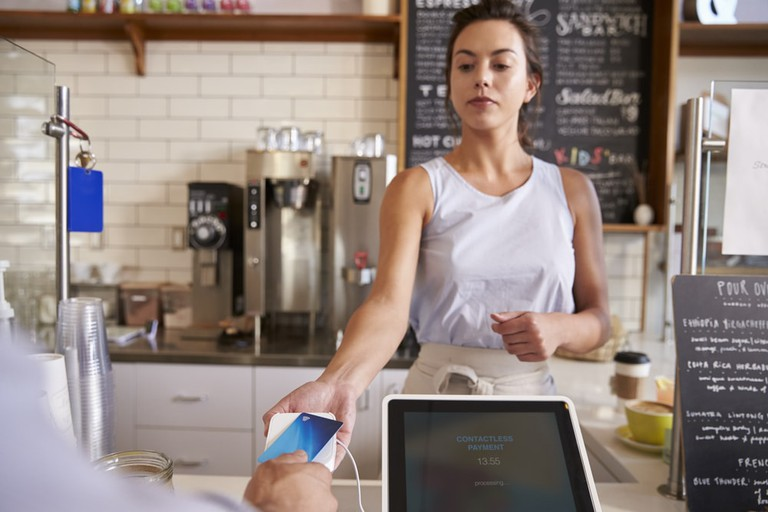 Card payment in a café