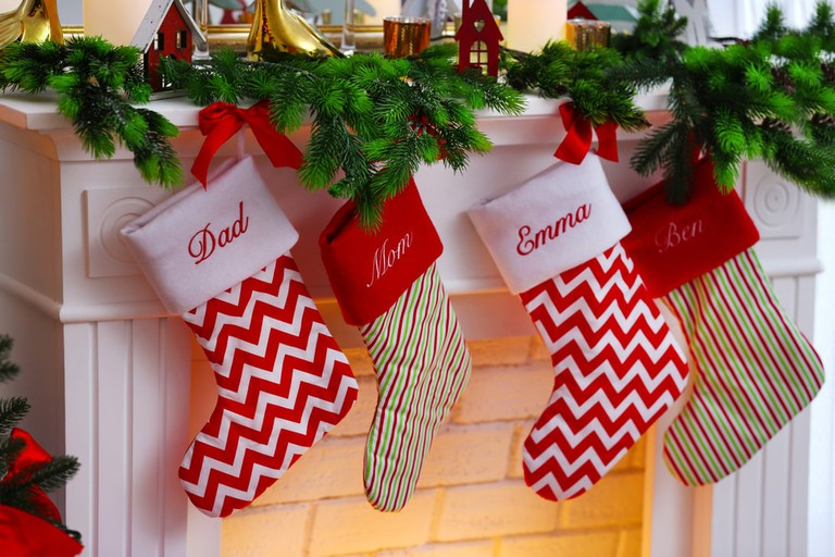 Christmas stockings with family members' names emblazoned on them