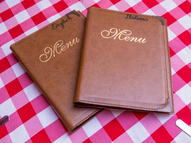 English versus Italian menus
